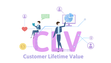 CLV, customer lifetime value. Concept with keywords, letters and icons. Colored flat vector illustration on white background.