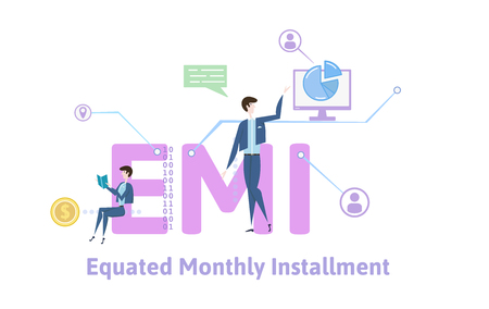 EMI, equated monthly installment. Concept with keywords, letters and icons. Colored flat vector illustration on white background.
