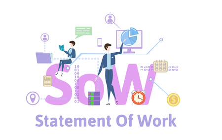 SoW, statement of work. Concept with keywords, letters and icons. Colored flat vector illustration on white background.
