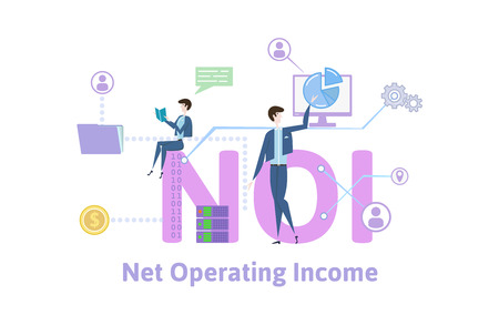 NOI, net operating income. Concept with keywords, letters and icons. Colored flat vector illustration on white background. Illustration