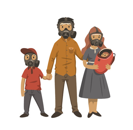 Modern family, parents and children in gas masks. Environmental problems, air pollution. Flat vector illustration. Isolated on white background.