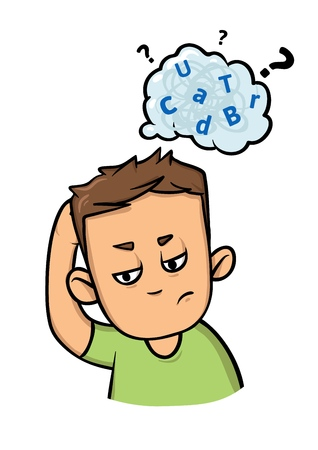 Confused guy with a cloud of scattered letters above his head. Dyslexia and adhd. Flat vector illustration. Isolated on white background.
