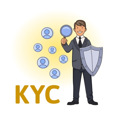 KYC, Know Your Customer concept. Businessman with a shield looking at the partners-to-be through a magnifying glass. Colored flat vector illustration on white background. Foto de archivo
