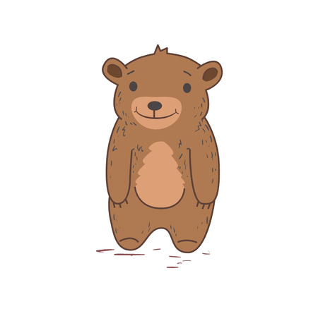 Funny cute bear standing. Flat vector illustration. Isolated on white background.
