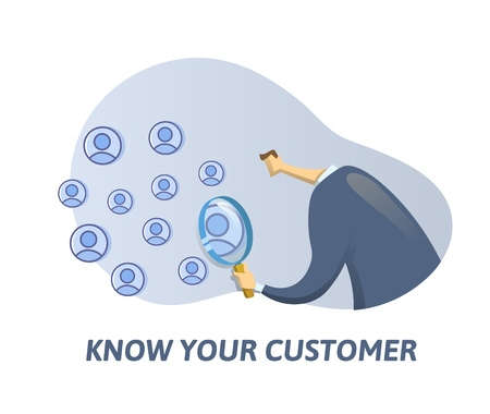 KYC, Know Your Customer concept. Businessman looking at the partners-to-be through a magnifying glass. Colored flat vector illustration on white background. Vector Illustration