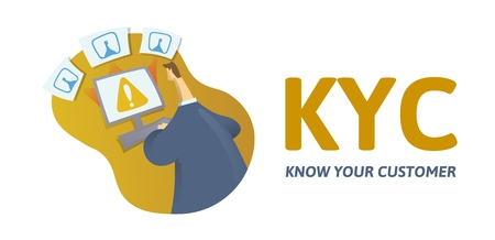 KYC, know your customer concept. Businessman checking information on internet, with text and letters. Colored flat vector illustration on white background. Vectores
