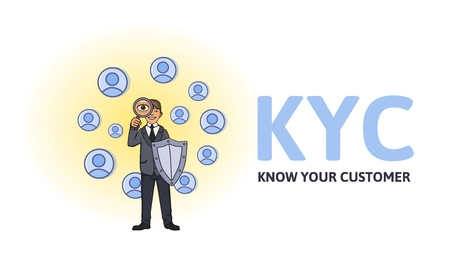 KYC, Know Your Customer concept. Businessman with a shield looking at the partners-to-be through a magnifying glass. Colored flat vector illustration on white background. Stock Illustratie