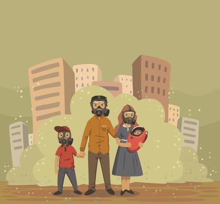 Familia en máscaras de gas en el fondo polvoriento de la ciudad de smog. Problemas ambientales, contaminación del aire. Ilustración de vector plano.
