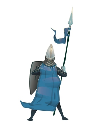 Medieval knight in armor with shield and spear, back view. Flat vector illustration, isolated. Illustration