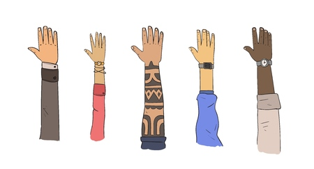 Set of hands, different ethnicities and lifestyles. Flat vector illustration. Isolated on white background.
