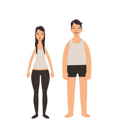 Young couple standing in the underware, front view. Flat vector illustration. Isolated on white background. Illustration