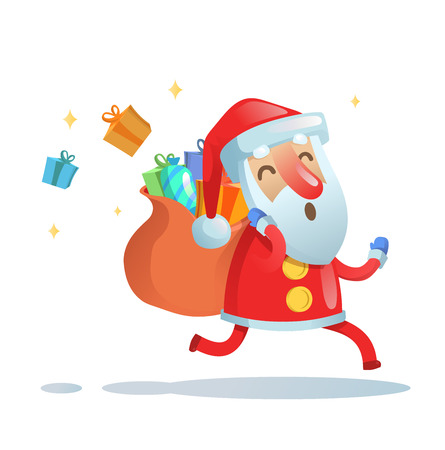 Papá Noel en la carrera para entregar regalos de Navidad. Ilustración de vector plano colorido. Aislado sobre fondo blanco. Ilustración de vector