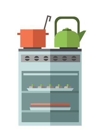 Kitchen stove oven with kettle and pot on it. Colorful flat vector illustration. Isolated on white background. Ilustrace