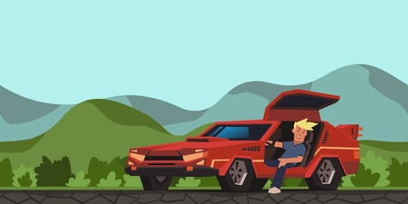 Young smiling guy sitting in red racing car on hilly valley background. Traveler in the natural environment. Flat vector illustration. Isolated on white background. Ilustração