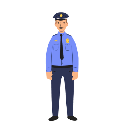 Police officer character. Colorful flat vector illustration. Isolated on white background.