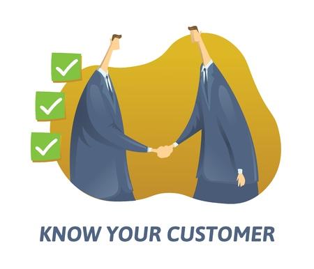KYC, conosci il tuo concetto di cliente. Uomini d'affari che stringono la mano e caselle spuntate nelle vicinanze. Illustrazione vettoriale piatto colorato su sfondo bianco.