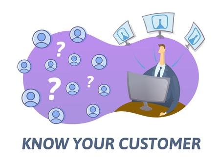 KYC, conozca su concepto de cliente. Empresario mirando a los futuros socios en internet. Ilustración de vector plano coloreado sobre fondo blanco.