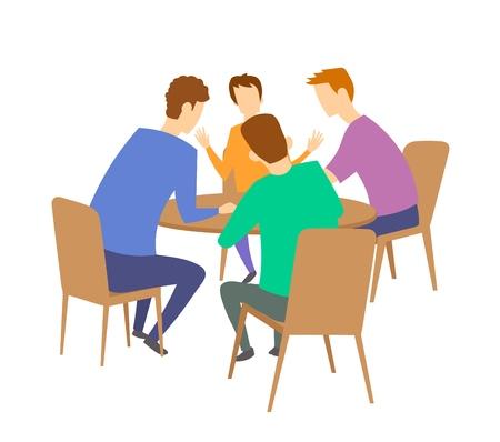 Grupo de cuatro jóvenes que tienen discusión en la mesa. Lluvia de ideas. Ilustración de vector plano colorido. Aislado sobre fondo blanco.