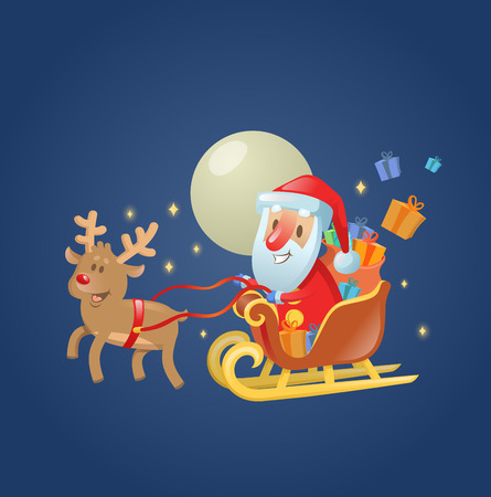 Santa Claus in his Christmas sled sleigh with his reindeer across the Moonlit night sky. Colorful flat vector illustration. Isolated on white background.