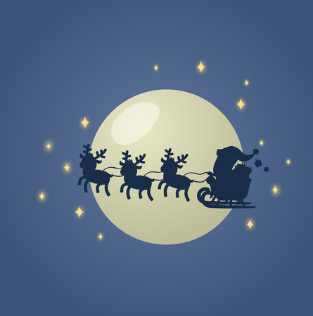 Santa Claus in his Christmas sled sleigh with his reindeers across the Moonlit night sky. Colorful flat vector illustration. Isolated on white background.