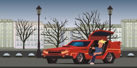 Young smiling guy sitting in red racing car on autumn city background. Traveler in the natural environment. Flat vector illustration, horizontal.