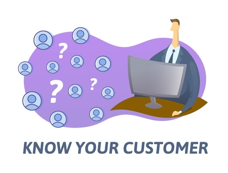 KYC, know your customer concept. Businessman looking at the partners-to-be in internet. Colored flat vector illustration on white background.