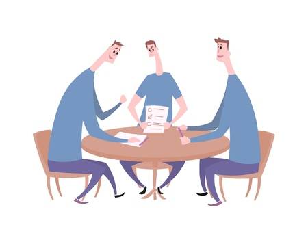 Tree young men having a conversation at the table. Business meeting, negotiation, quiz team. Flat vector illustration. Isolated on white background.
