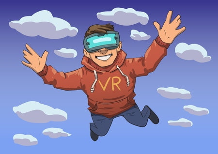 Young guy in VR headset flying in the sky. Happy kid diving into virtual reality. Colorful flat line vector illustration. Horizontal.