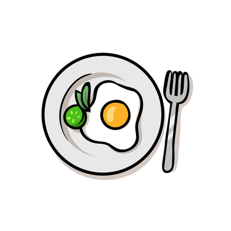 Fried egg with yolk on a plate. Colorful flat vector illustration. Isolated on white background. Vettoriali