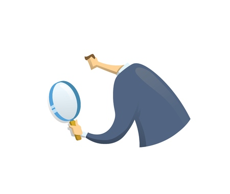 Businessman in suit looking through a magnifying glass, back view. Recruiting and researches. Vector flat design illustration. Isolated on white background.