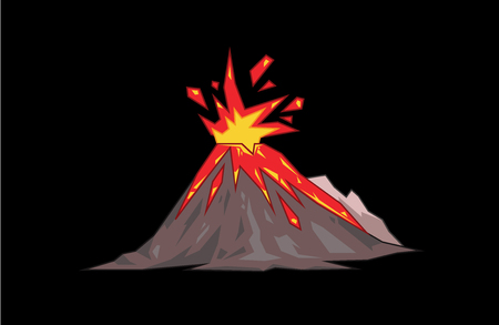 Volcano mountain top exploding. Flat vector illustration. Isolated on black background.