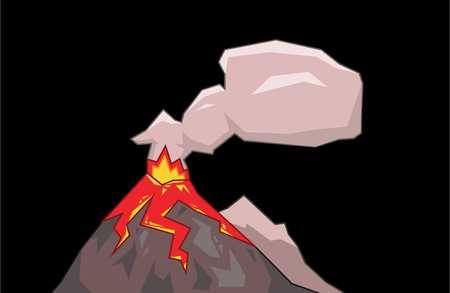 Volcano mountain top exploding with cloud of smoke. Flat vector illustration. Isolated on black background.