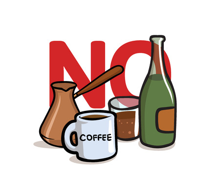 Say No to Alcohol and Caffeine. Alcohol, Caffeine free. Colorful flat vector illustration. Isolated on white background.