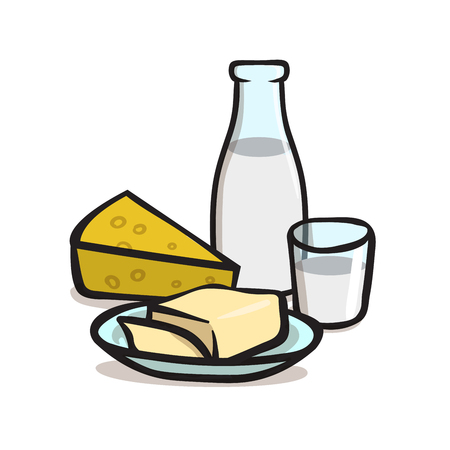 Milk and dairy products icons. Colorful flat vector illustration. Isolated on white background. Illustration
