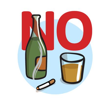 Zakaz palenia, bez alkoholu. Ilustracja kolorowy płaski wektor. Pojedynczo na białym tle.