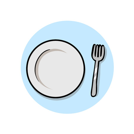 Empty Plate and Fork. Colorful flat vector illustration. Isolated on white background.