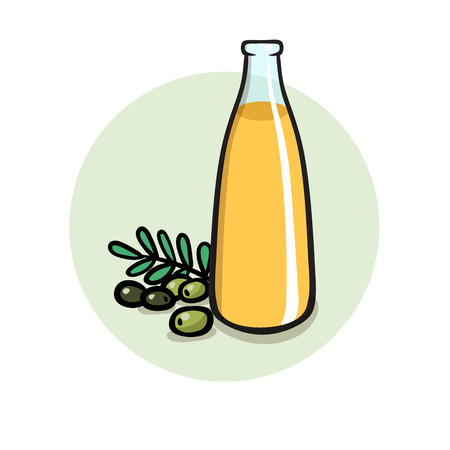 Healthy cooking oil in glass bottle. Colorful flat vector illustration. Isolated on white background.