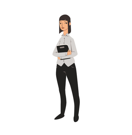 Elegant office girl in white shirt and black trousers. Colorful flat vector illustration. Isolated on white background. Illustration
