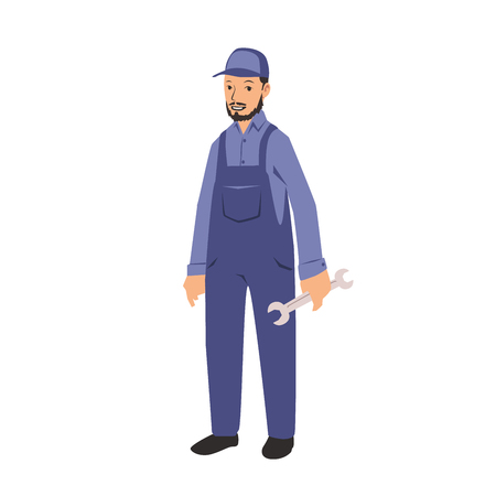 Mechanic service handyman worker man holding a spanner. Colorful flat vector illustration. Isolated on white background.