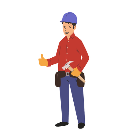 Handyman with a tool belt and a hammer. House renovation service. Colorful flat vector illustration. Isolated on white background.