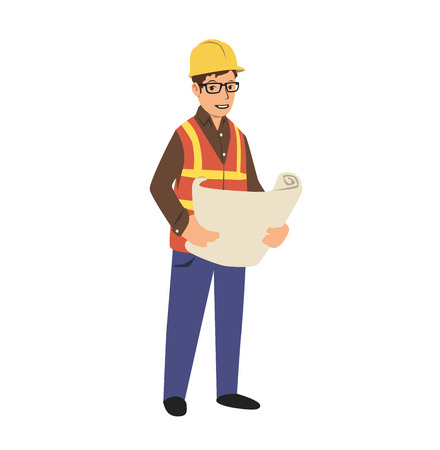 Young construction engineer in hard hat holding a blueprint. Colorful flat vector illustration. Isolated on white background. Illustration