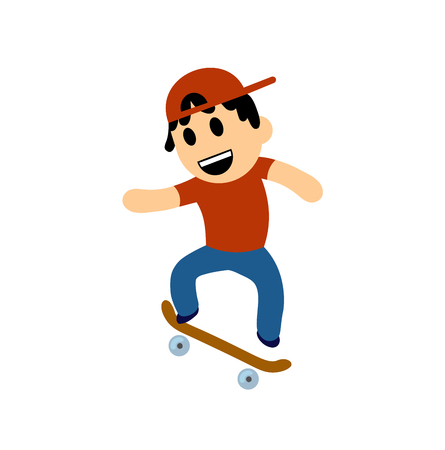 Funny cartoon boy performing trick on skateboard. Colorful flat vector illustration. Isolated on white background. Illustration