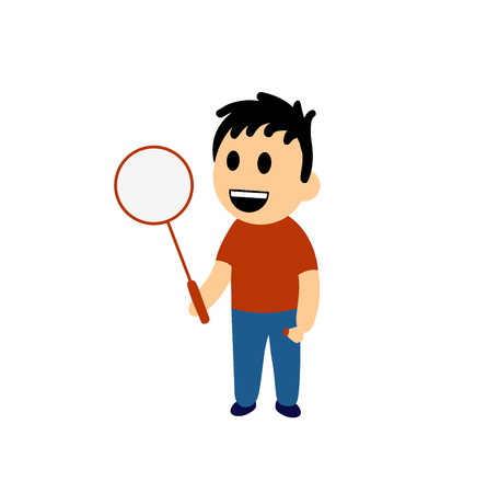 Funny cartoon boy holding a badminton racket. Colorful flat vector illustration. Isolated on white background.