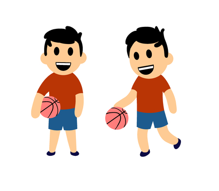 Funny cartoon boy playing basketball. Set of two characters. Colorful flat vector illustration. Isolated on white background.