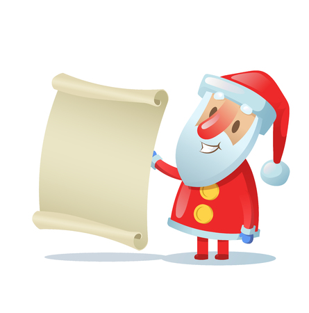 Funny Santa holding a blank scroll. Colorful flat vector illustration. Isolated on white background.
