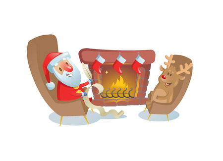 Funny Santa Claus sitting by the fireplace with his deer friend. Colorful flat vector illustration. Isolated on white background.