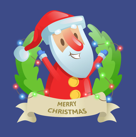 Christmas holiday wreath with Santa and garland. Best wishes. Colorful flat vector illustration. Isolated on blue background. Illustration