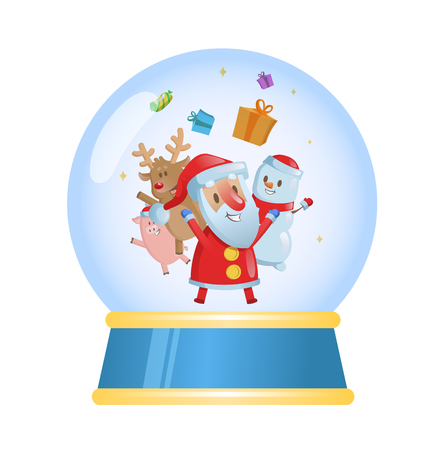Merry christmas glass ball with Santa and his friends. Colorful flat vector illustration. Isolated on white background.
