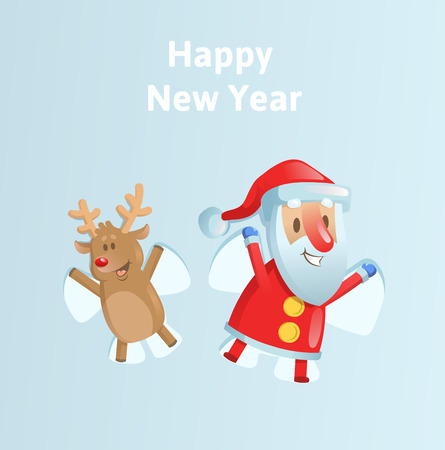 Happy Santa Claus and reindeer making a Snow Angel. Colorful flat vector illustration on blue background.