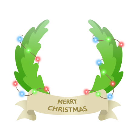 Christmas holiday wreath with garland. Best wishes. Colorful flat vector illustration. Isolated on white background. Illustration